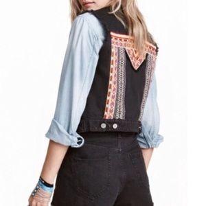 NWT H&M Coachella Black Denim Embroidered Vest